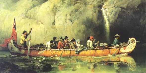 Voyageur Canoe, Frances Anne Hopkins, 1869. Public Domain