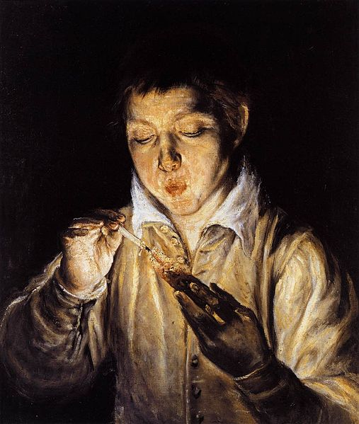 A Boy Blowing on an Ember to Light a Candle, El Greco, 1570-1572. National Museum of Capodimonte.