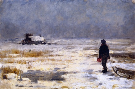 A Boy with Sled in Winter, Franz Marc, 1902.  Staedtische Galerie im Lenbachhaus, Germany.