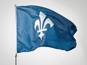 "The Fleur de lis is perhaps the most widely recognized symbol of French heritage in North America. This flag is was designed by artist Simon Beaudry. ""Drapeau monolys"" 2008."
