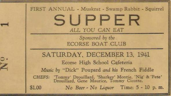 1941 Ecorse Boat Club Supper with game, and local French entertainment.